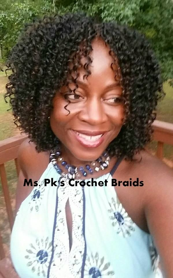 Freetress Water Wave 12' pack. We used 4 packs of hair to achieve this look. Hair installed by Ms. Pk of Ms. Pk's Crochet Braids of GA #mspkscrochetbraids #crochetbraids #protectivestyle #naturalhair # crochet braid styles water waves