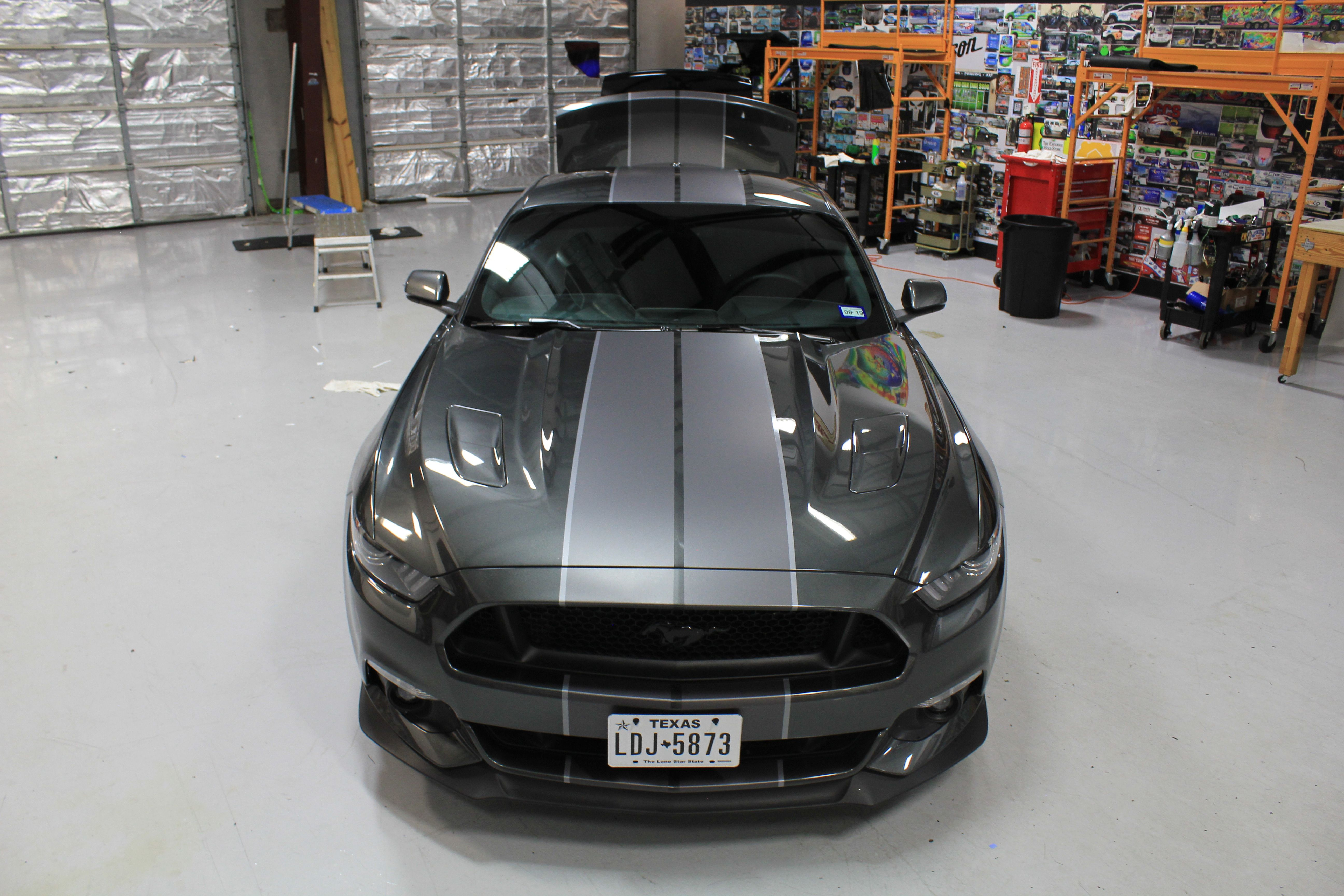 Custom racing stripes mustang gray on grey stripe kit matte gray stripes