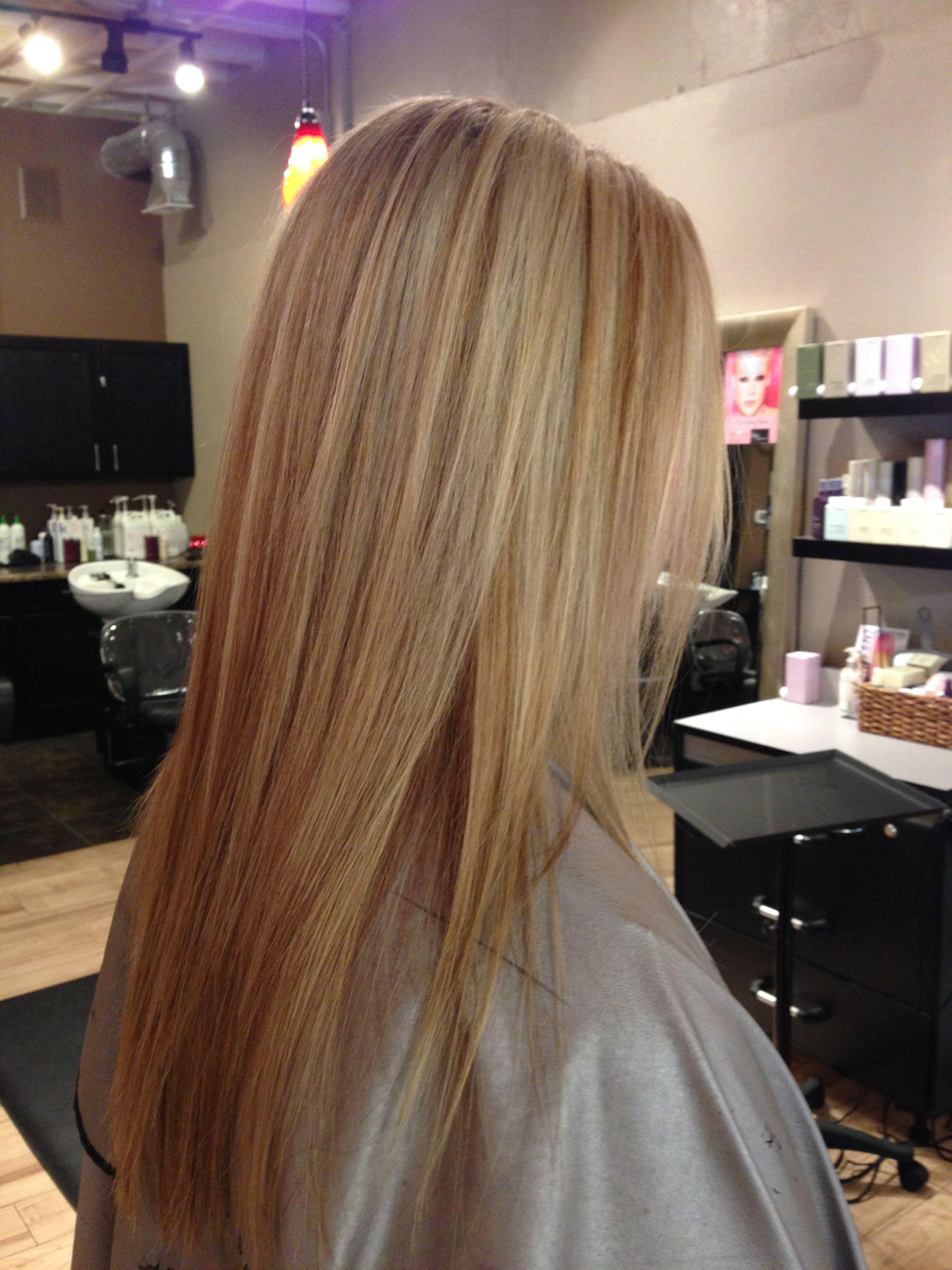 blonde with carmel lowlights. long