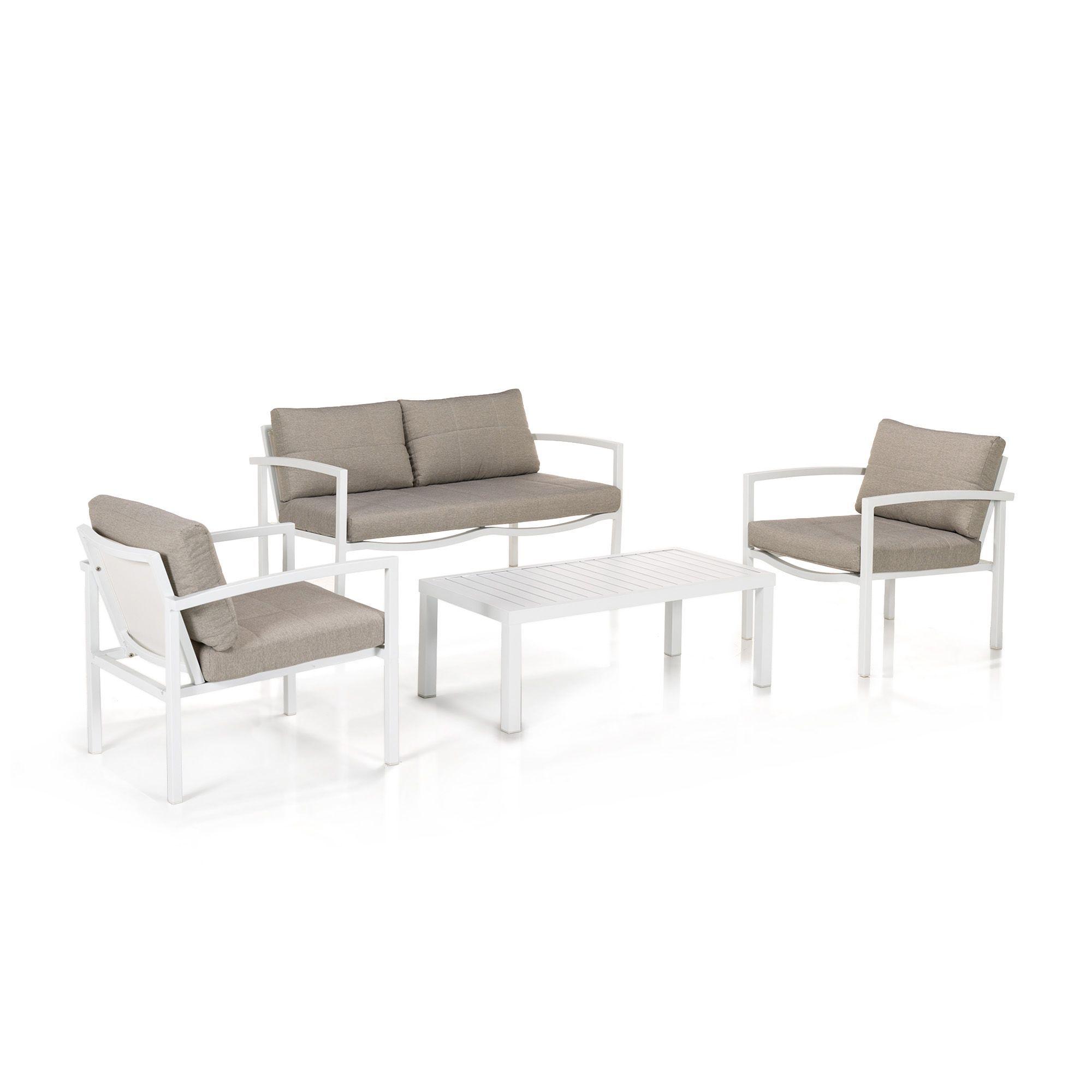 Salon de jardin 4 éléments Blanc/beige - Happy out - Salons de ...