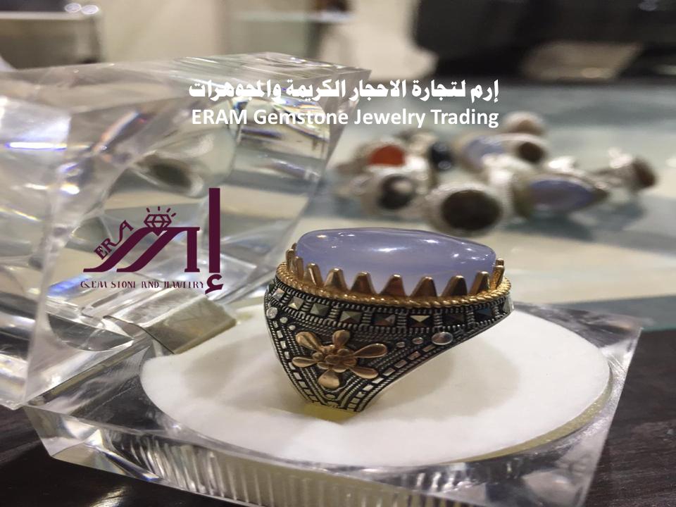 خاتم عقيق يمني ازرق سماوي طبيعي Agate Gemstone Jewelry Gemstones Panna Cotta
