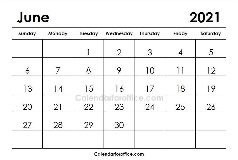 June 2021 Calendar Printable 2021 Calendar Calendar 2019