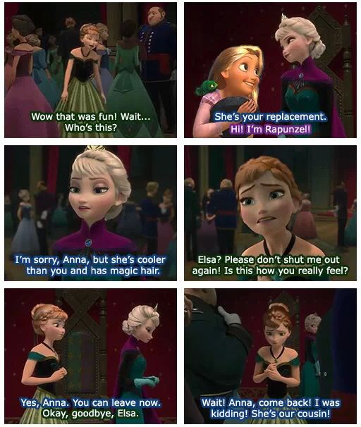 Frozen Tangled crossover - Anna Elsa Rapunzel interactions - Luckily Elsa is not so mean! :) Meme