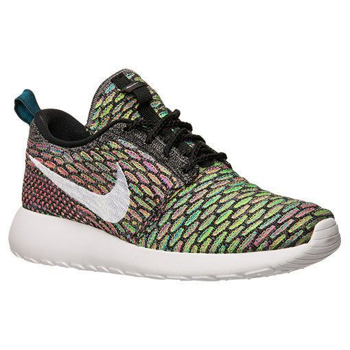 AUTHENTIC Nike Roshe Run One Flyknit Multi Color Rainbow Wht 704927 001 Women sz