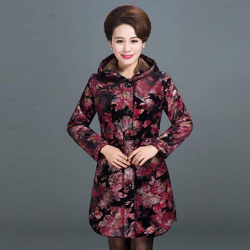 Winter new Coat middle-aged cotton velvet hooded printing Slim long Plus velvet  Jacket women Coats