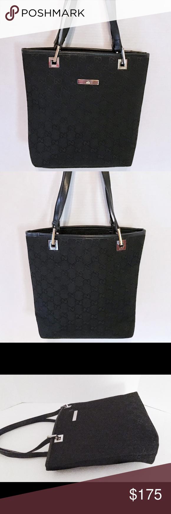 928293c1f2 GUCCI Auth Black Monogram Jacquard Tote Handbag Authentic GUCCI GG monogram  small tote handbag. Very