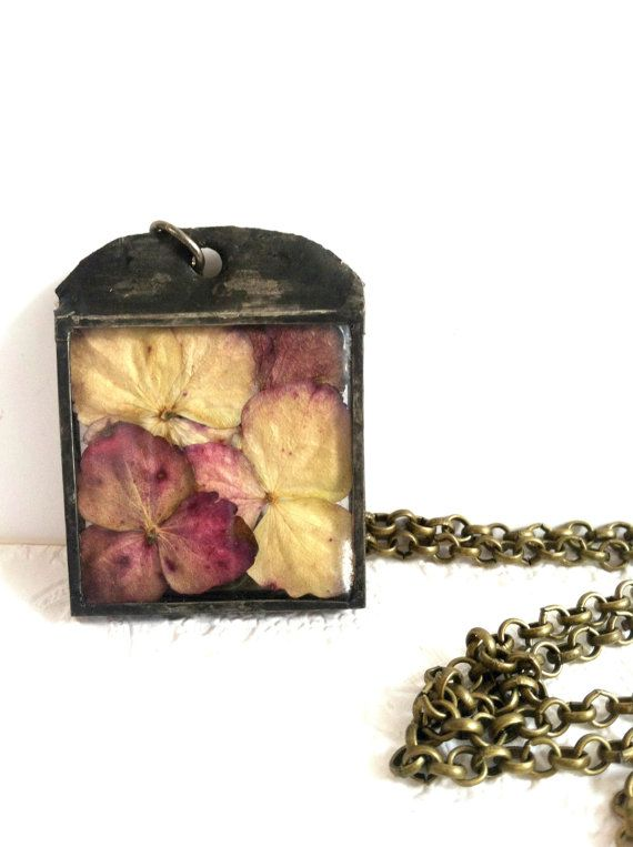 Hydrangea Blossom Necklace Soldered Glass Flower by Mystarrrs, $35.00