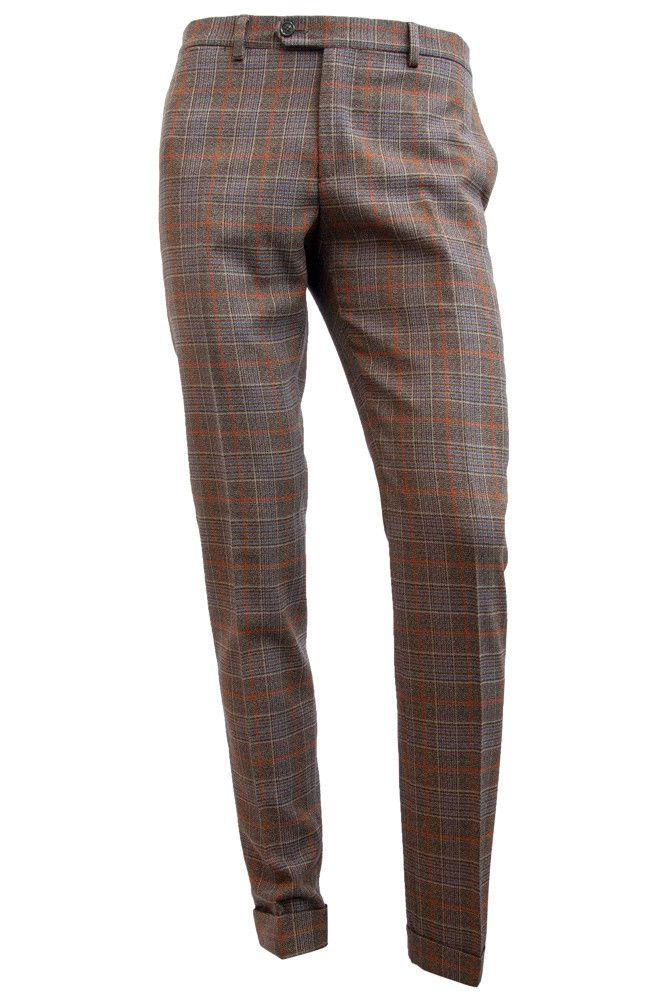 Plaid Stretch Wool Trousers