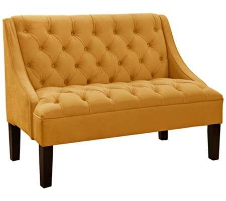Regal Gold Button-Tufted Settee   55DowningStreet.com
