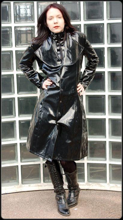 Black Pvc Raincoat Lady Protective Rainwear Collection