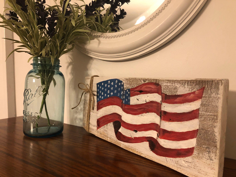American Flag Sign Americana Decor Reclaimed Wood Sign Etsy In 2020 Barn Wood American Flag American Flag Decor American Flag Wood