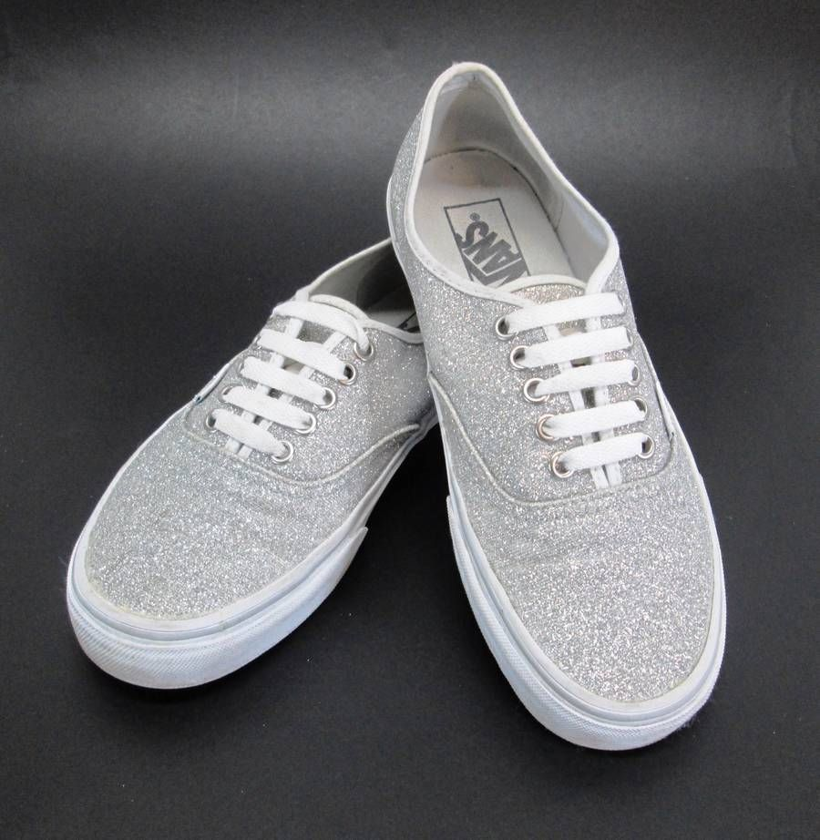 de3a16cd50ec44 Vans Classic Glitter Shoes Silver Womans 8.5 Mens 7 Sparkle Metallic Lace Up