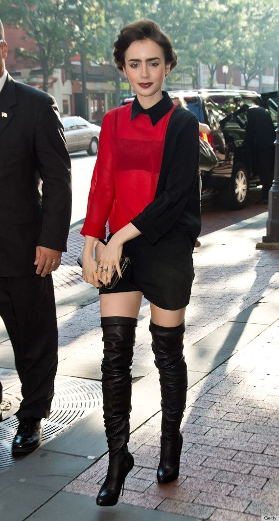 d9f9af88038 PHOTOS  Did Lily Collins Steal Those Boots From  Pretty Woman ...