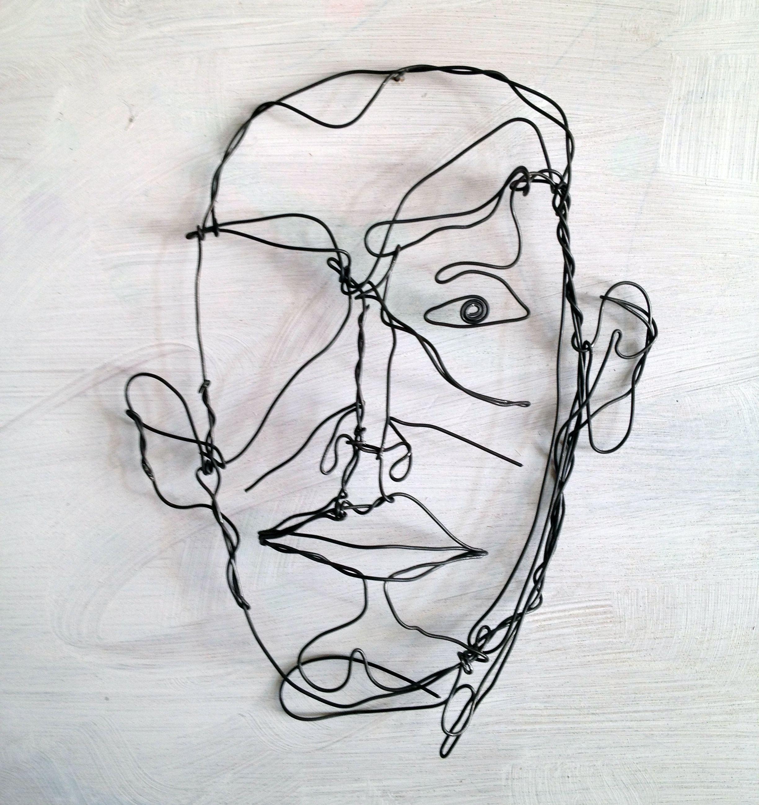 Wire drawing sketch man | wire art | Pinterest | Draht, Portrait und ...