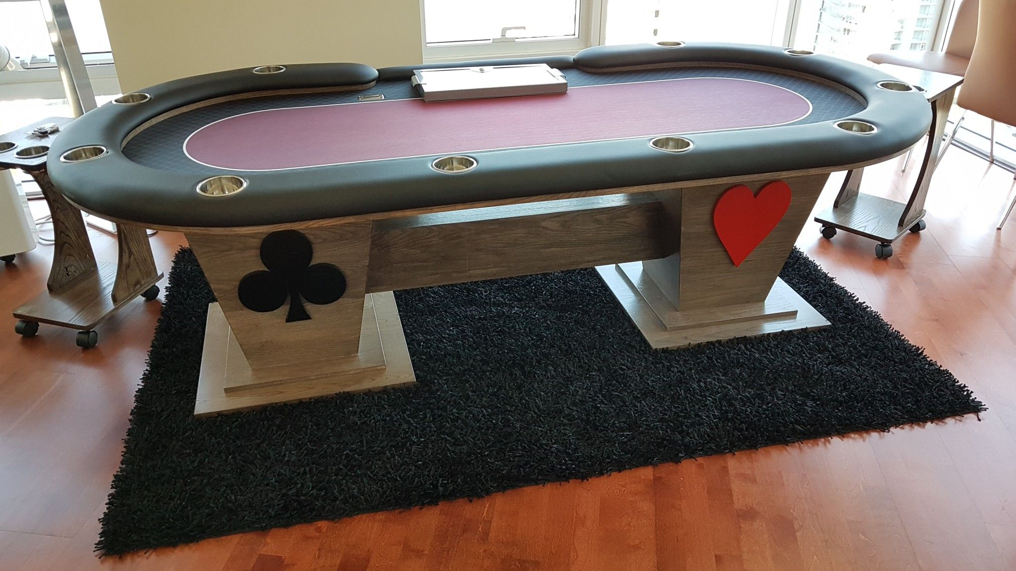Custom Built Poker Table With Inverted Pyramid Legs Stained