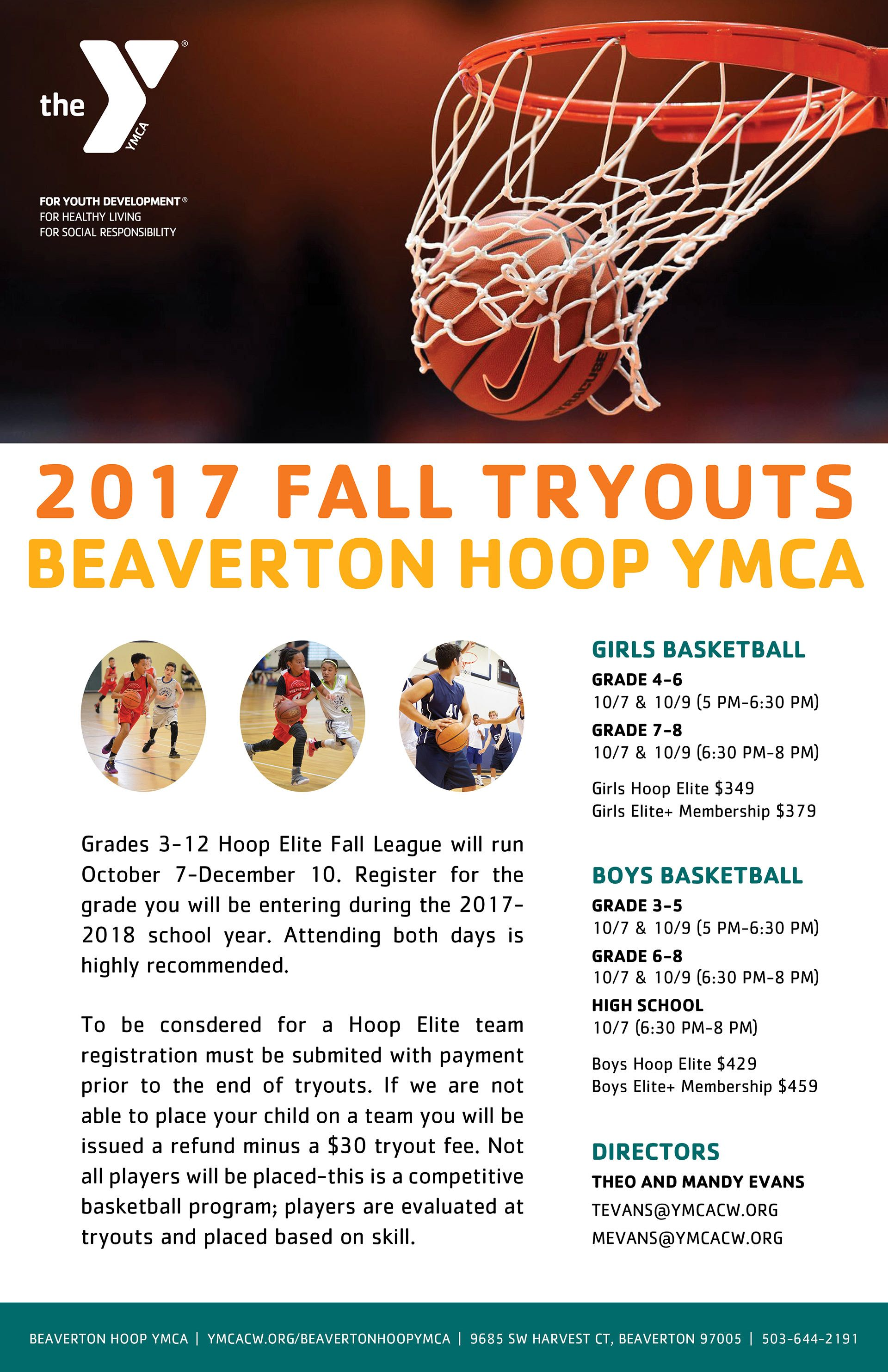 Concept layout ymca basketball poster for tryouts ymca