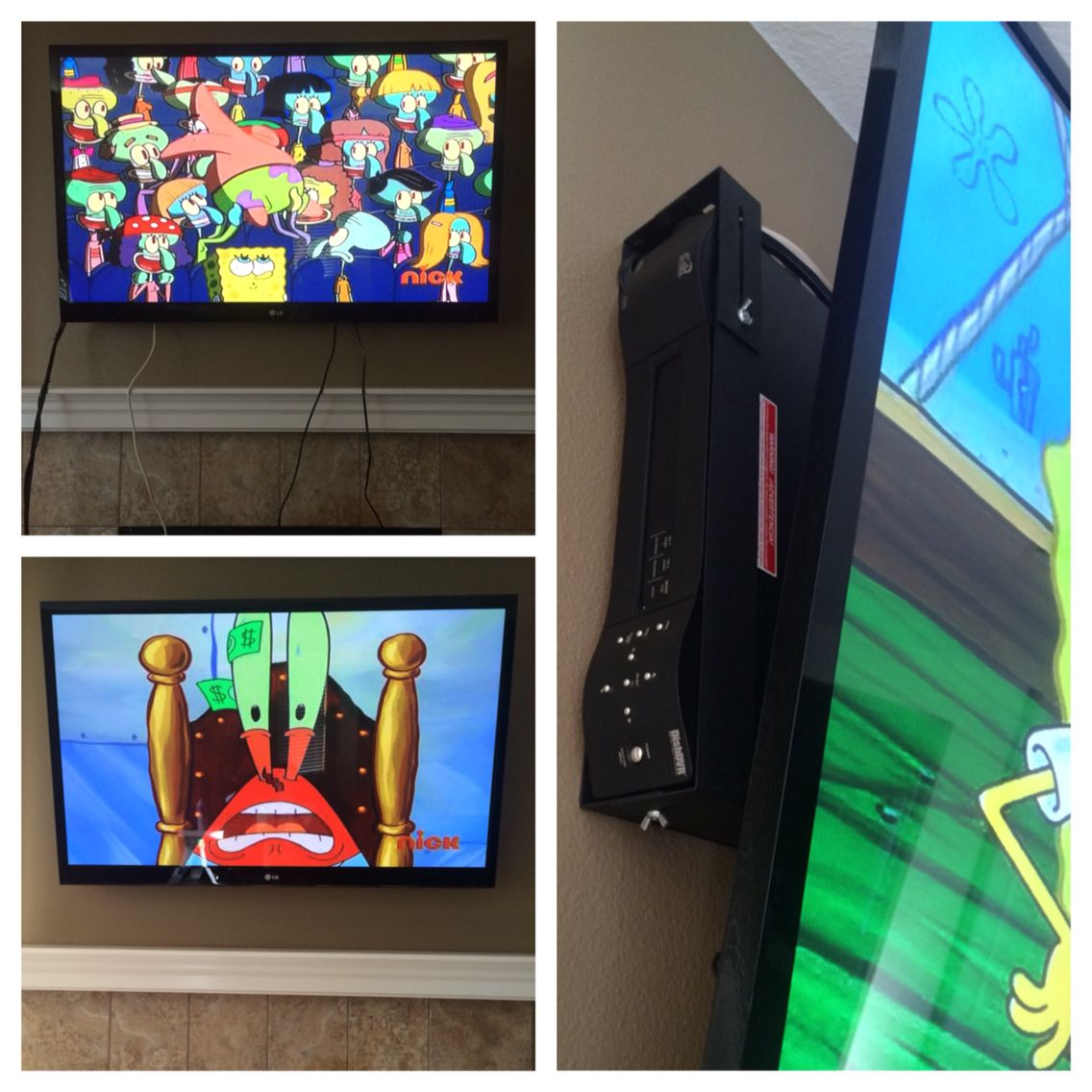 Out of sight cable box, mounted behind the TV using brackets from HIDEIT mounts.  Quick and easy!
