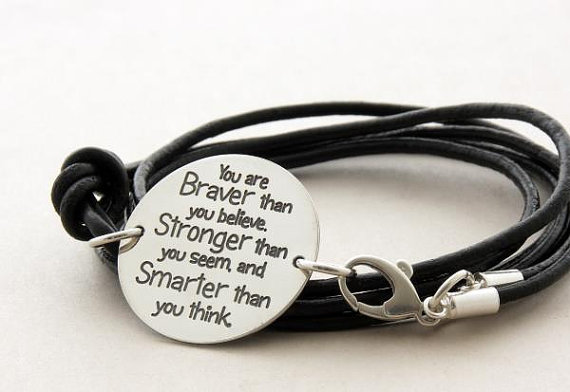 You Are Braver Than Believe Sterling Silver Inspirational Quote Leather Bracelet Handmade Jewelry