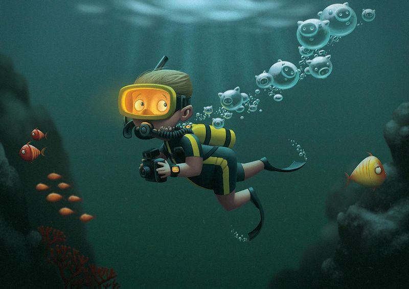 Веселые, прикольные картинки подводная охота