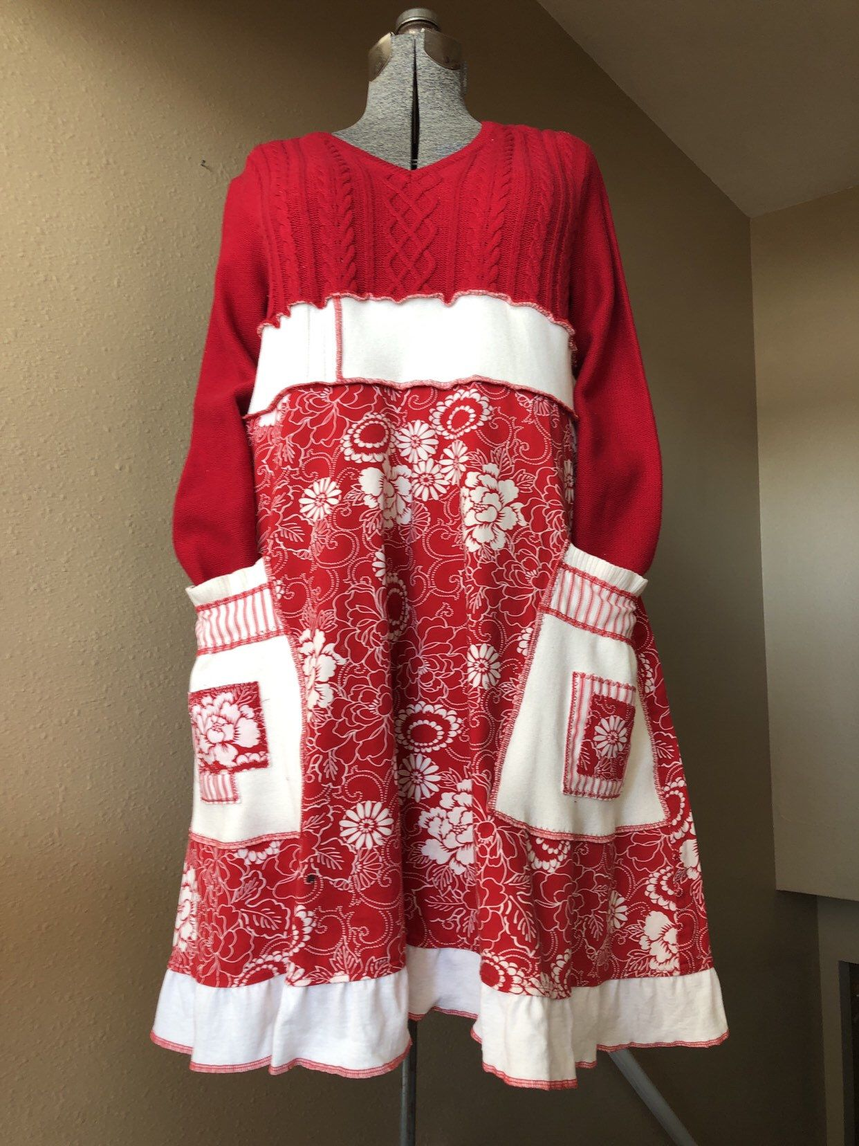 58741441b5d Excited to share this item from my  etsy shop  Upcycled Red Sweater Dress
