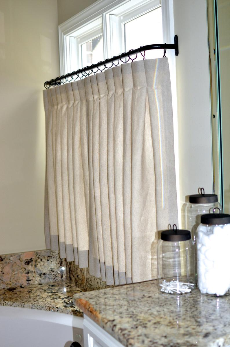 Pinch Pleat Cafe Curtains For Bathroom Made To Order Etsy