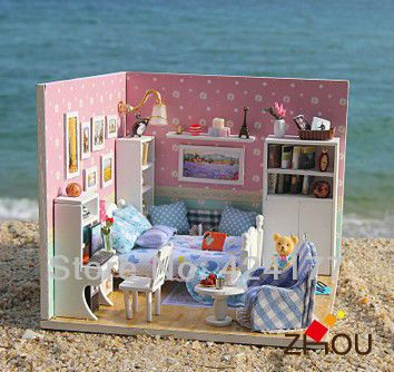 New diy wooden miniature model small house gift puzzle romantic doll house - Dream loft $23.50 **these kits included EVERYTHING, including lights. Reliable seller, I have purchased from them more than once**