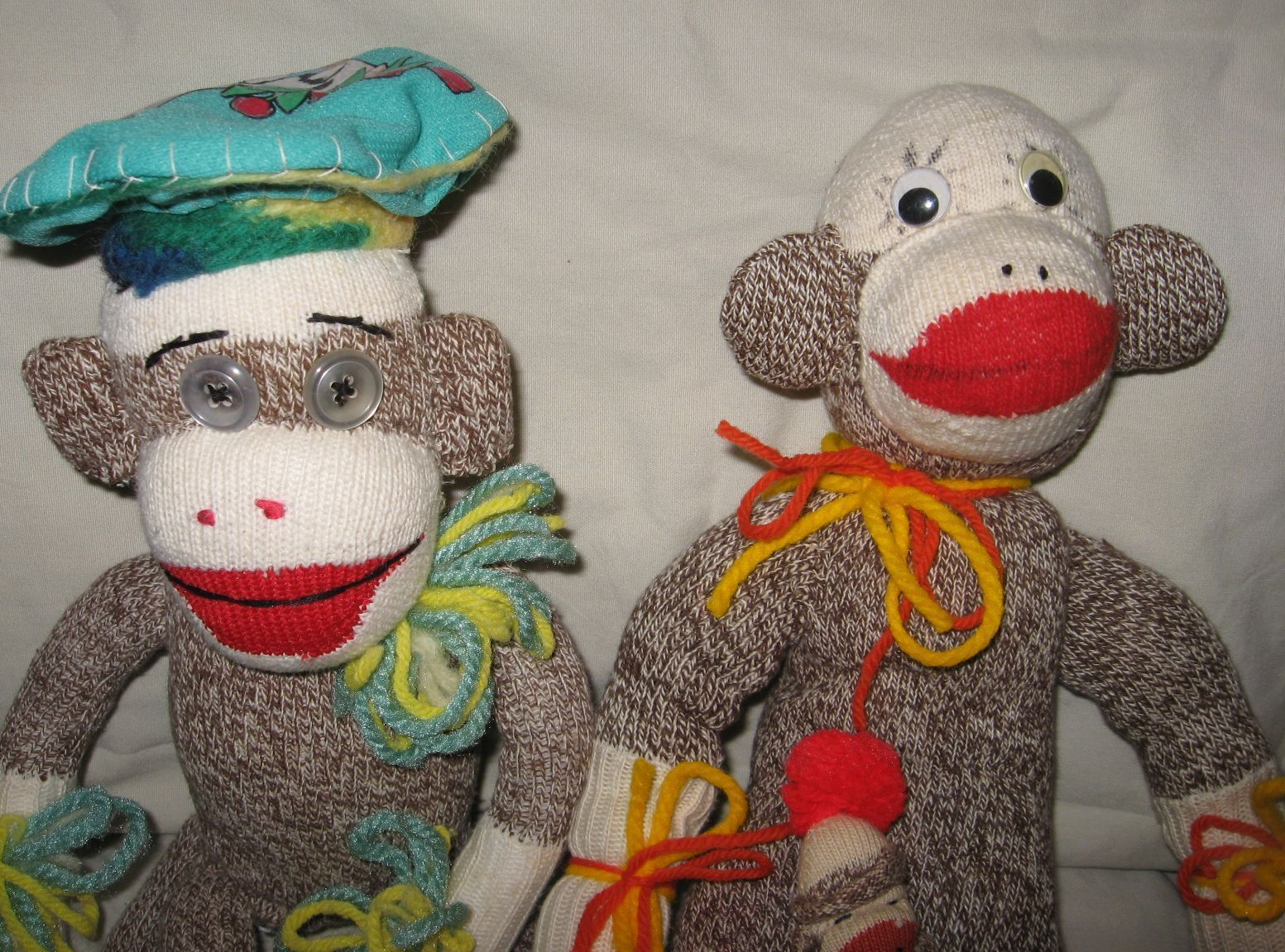 Vintage Hand Made Sock Monkey Lot Of 3 One Large One