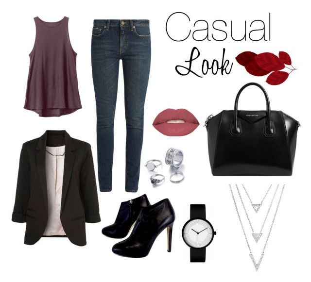 """Casual Look"" by alejandravi on Polyvore featuring RVCA, Yves Saint Laurent, Giuseppe Zanotti, Givenchy and Smashbox"