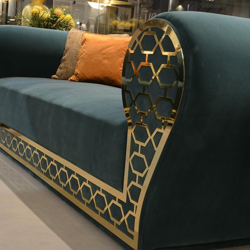 Luxury Sofas Sofa With Gold Metal Fretwork Design Taylor