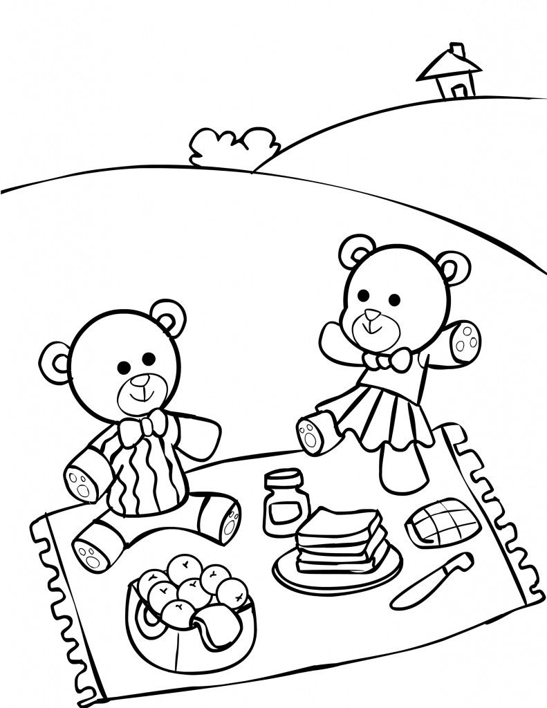 Teddy Bear Picnic Coloring Pages For Kids. It\'s a Teddy Bear Picnic ...