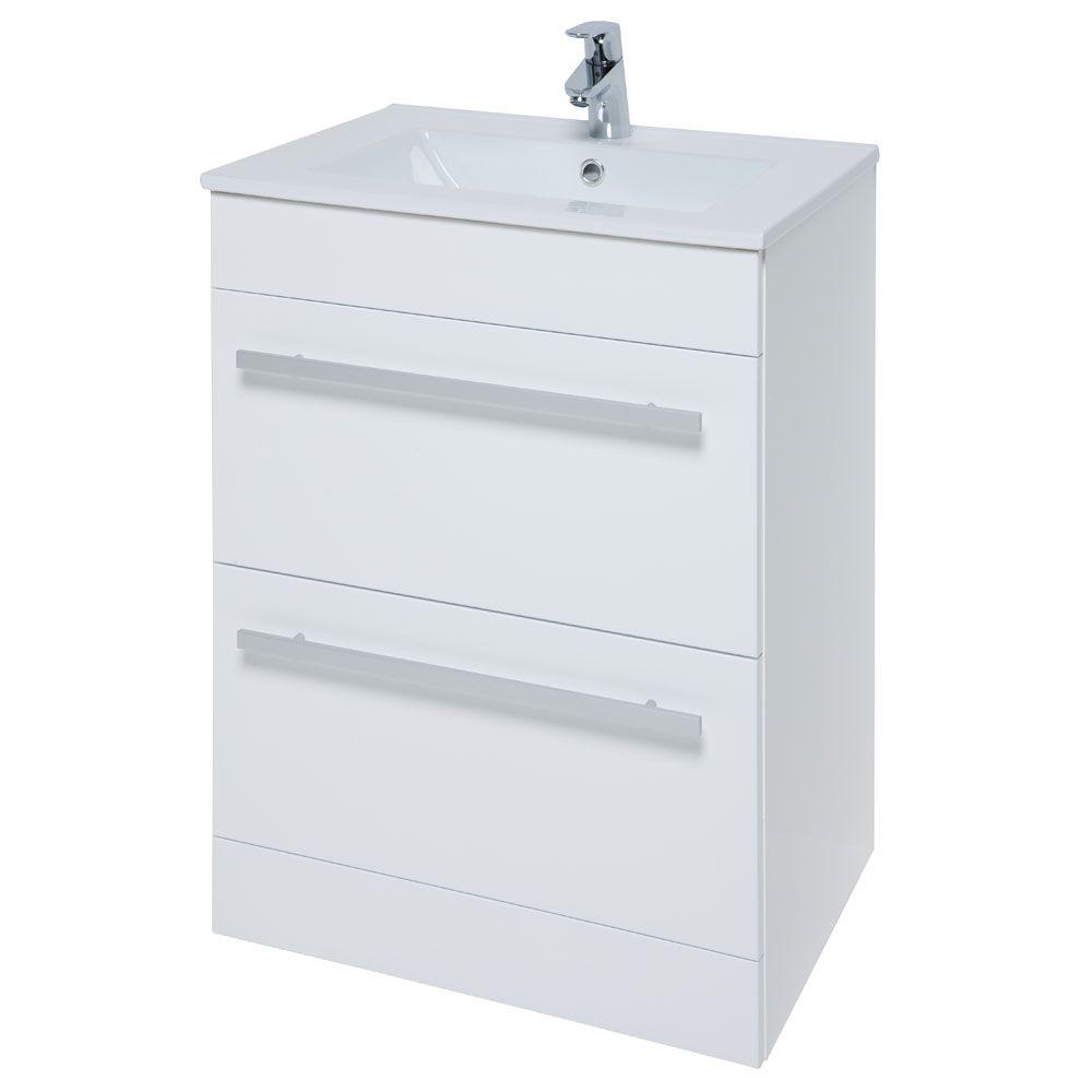 Prestige Elegance 2 Drawer Floor Mounted Bathroom Vanity Unit U0026 Basin 600mm  W White