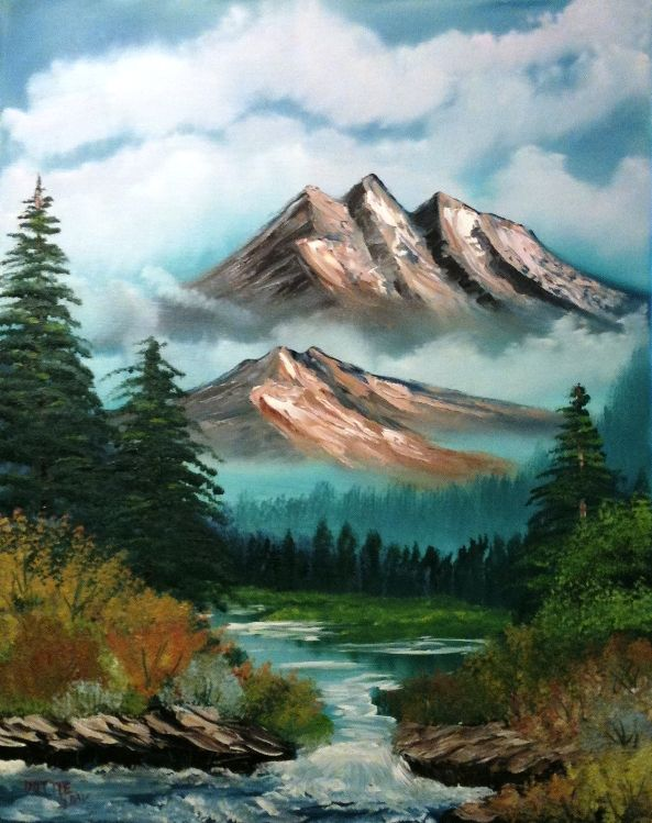 Floating Mountains Wetcanvas Bob Ross Art Mountain Paintings Landscape Paintings Acrylic