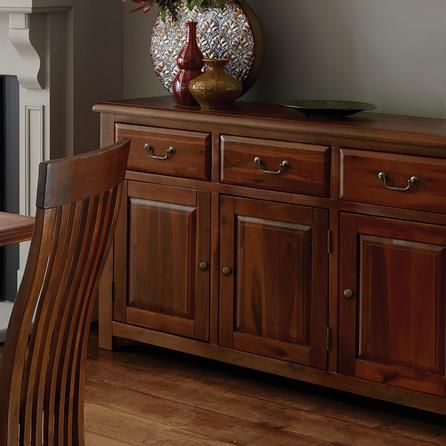 Winchester Acacia Dark Wood Large Sideboard Dunelm