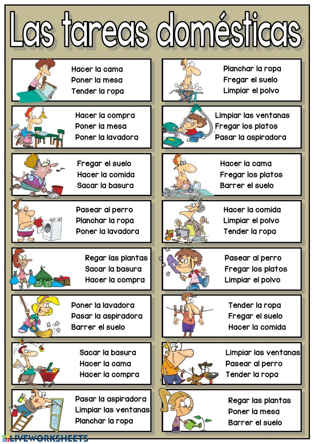 Las Tareas Domesticas Interactive And Downloadable Worksheet You