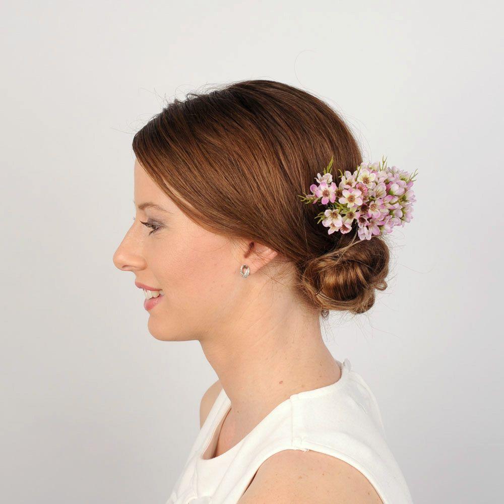 pink floral hair piece, wedding comb, flower headpiece