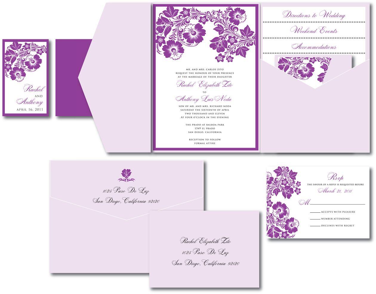 Purple And Lilac Wedding Invitations | Purple & Lavender Wedding ...