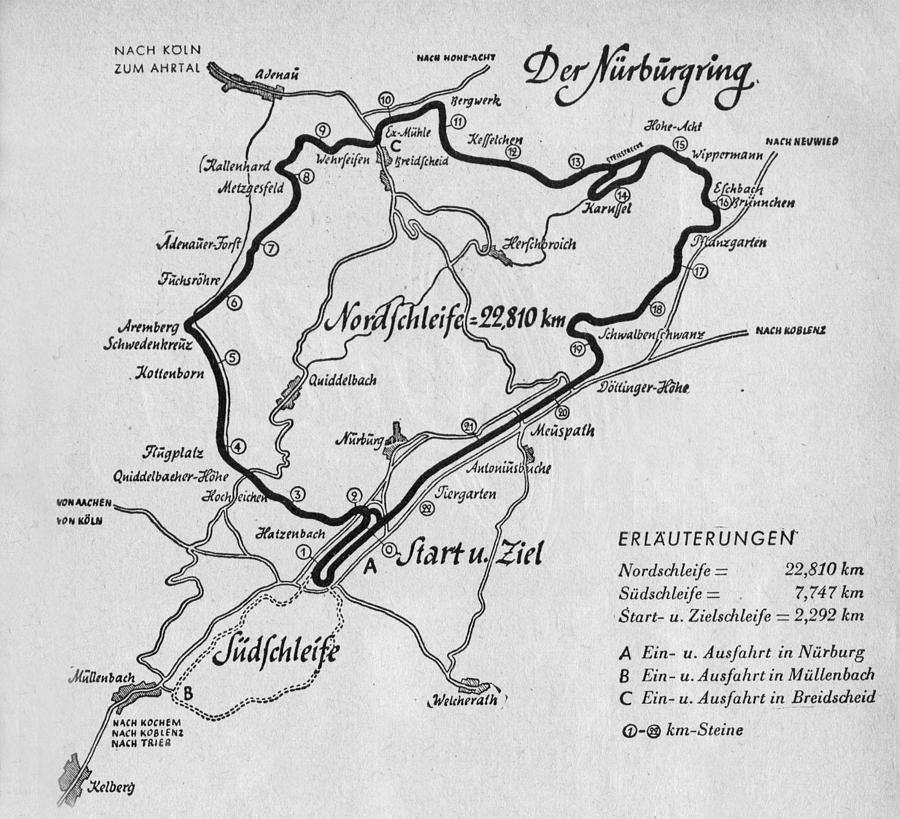A Map Of The Nurburgring Circuit By German School Vintage Racing Circuit Drawing Map