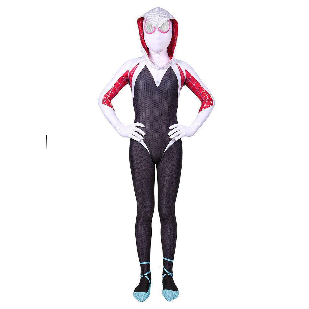 Spider Gwen Girls Fancy Dress Rising Warrior Kid Superhero Costume Party Cosplay