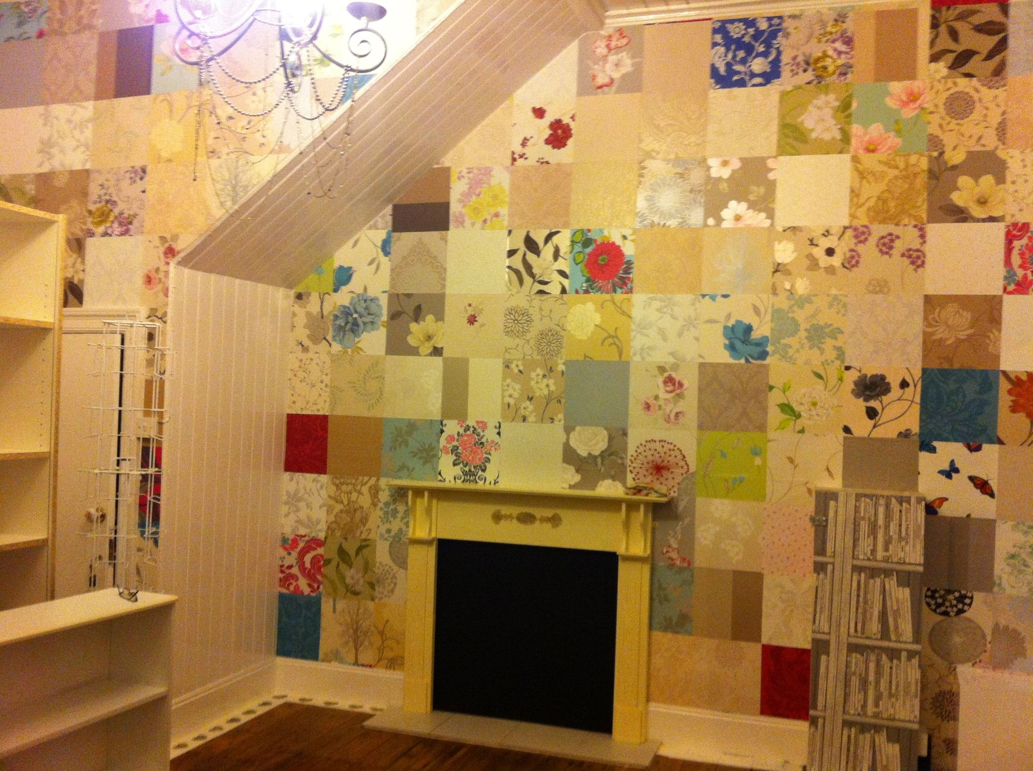 Our fabulous patchwork wall made from wallpaper samples | come ...