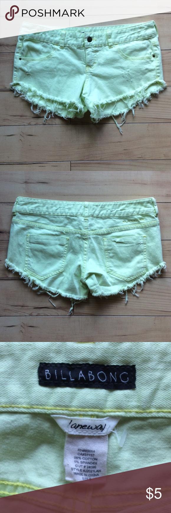 Yellow Billabong cutoff jean shorts Perfect for the beach! Billabong Shorts Jean Shorts