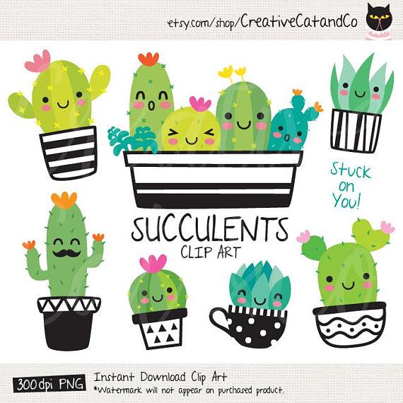 Succulent Clipart Cute Cactus Clipart Cacti Clip Art Cute ...
