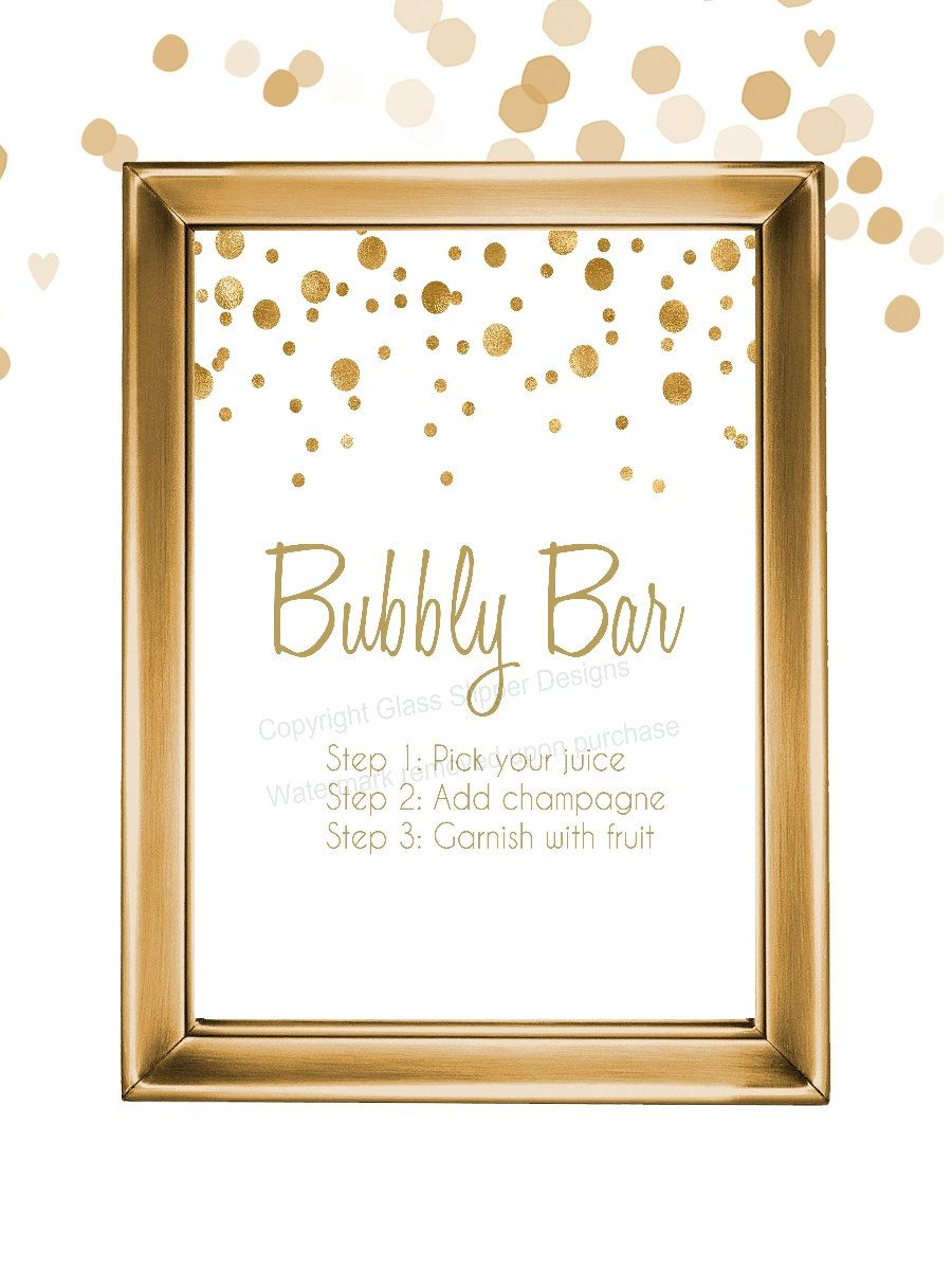 Set of 5 printable white and gold champagne bridal shower for Champagne brunch bridal shower