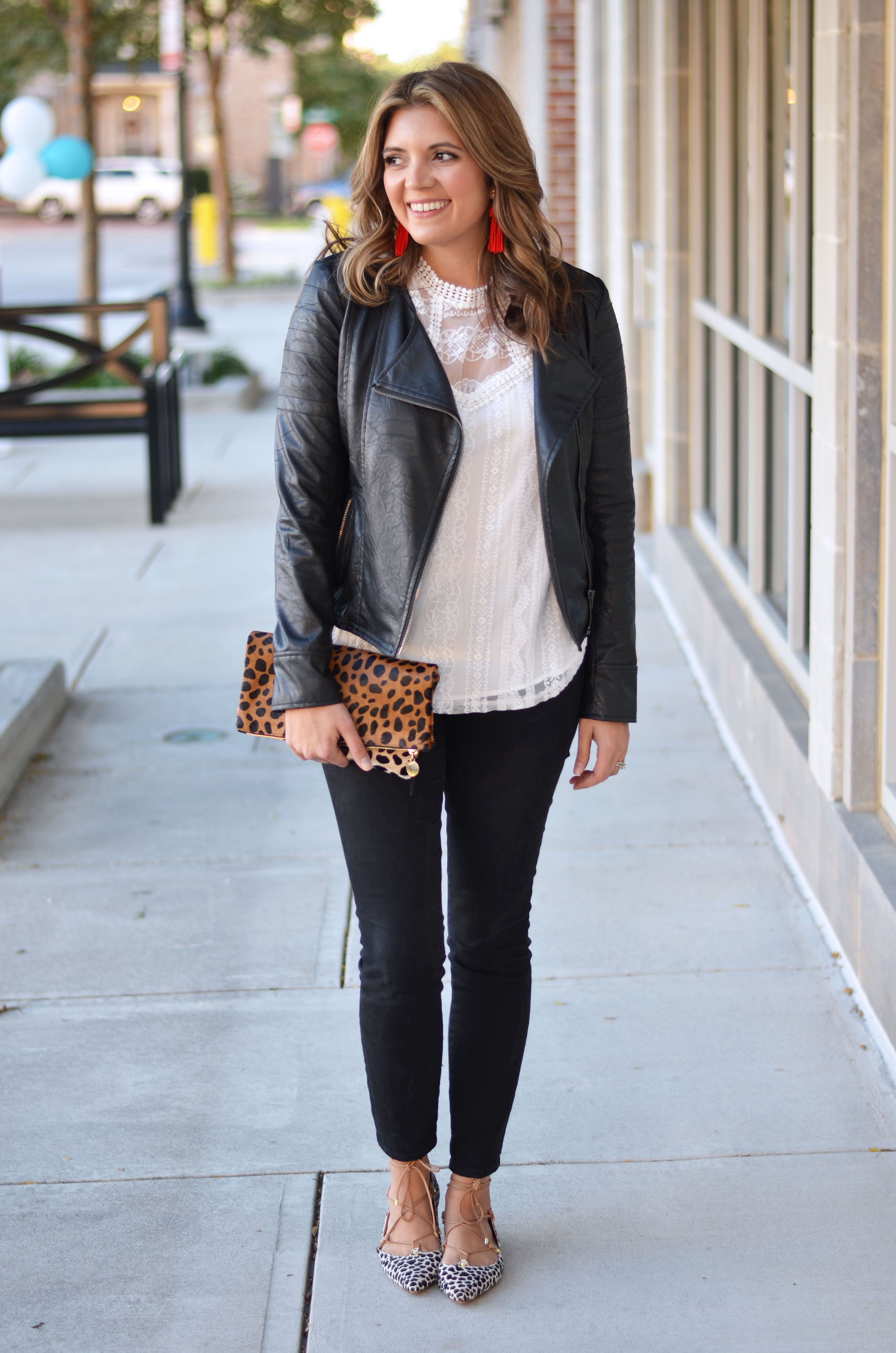 8a6f04b3c2 faux leather moto jacket outfit - black moto jacket with white lace top and  cheetah print clutch | www.bylaurenm.com