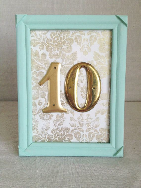 Gold Table Numbers with Light Blue Frame (by River Kiss Weddings via ...