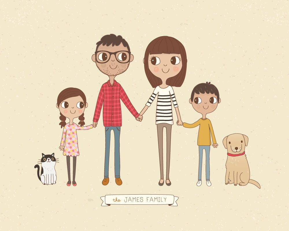custom family portrait illustration personalised digital print 8x10 or a4 gift idea. Black Bedroom Furniture Sets. Home Design Ideas