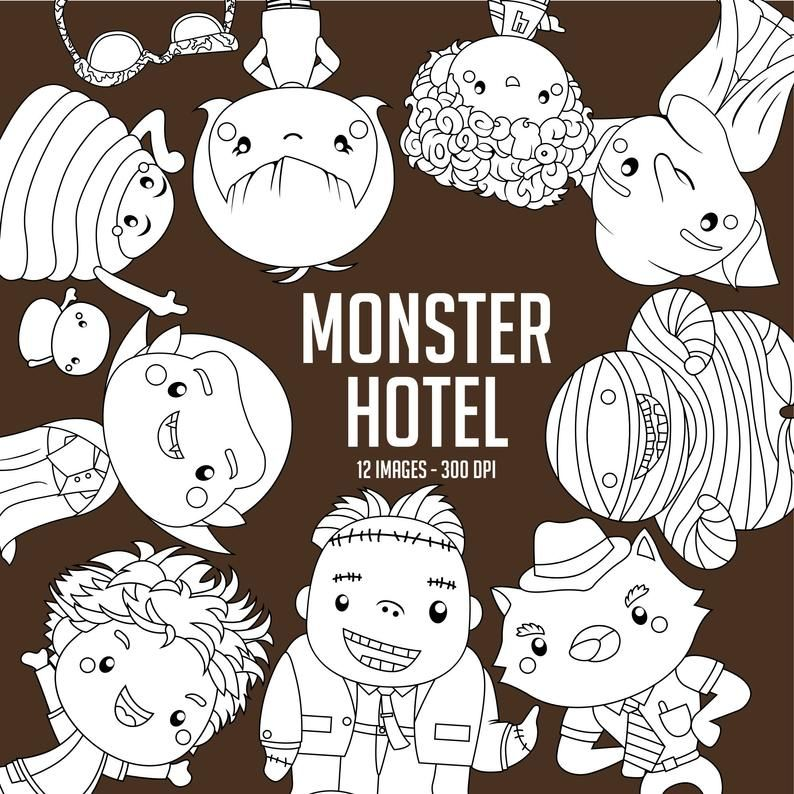 Monster Hotel Clipart Black And White Cute Monster Free Etsy Clip Art Monster Hotel Cartoon Clip Art