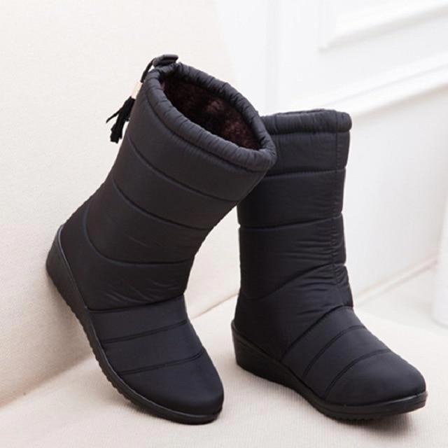 f3a78dbf1567 LAKESHI 2018 New Women Boots Winter Women Ankle Boots Waterproof Warm Women  Snow Boots Women Shoes