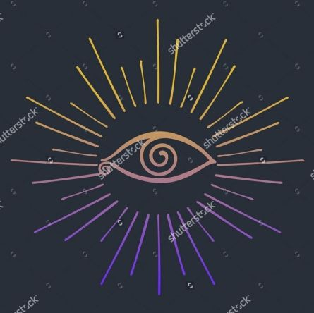 Eye in rays. Gold and purple. Vector illustration and raster copy.