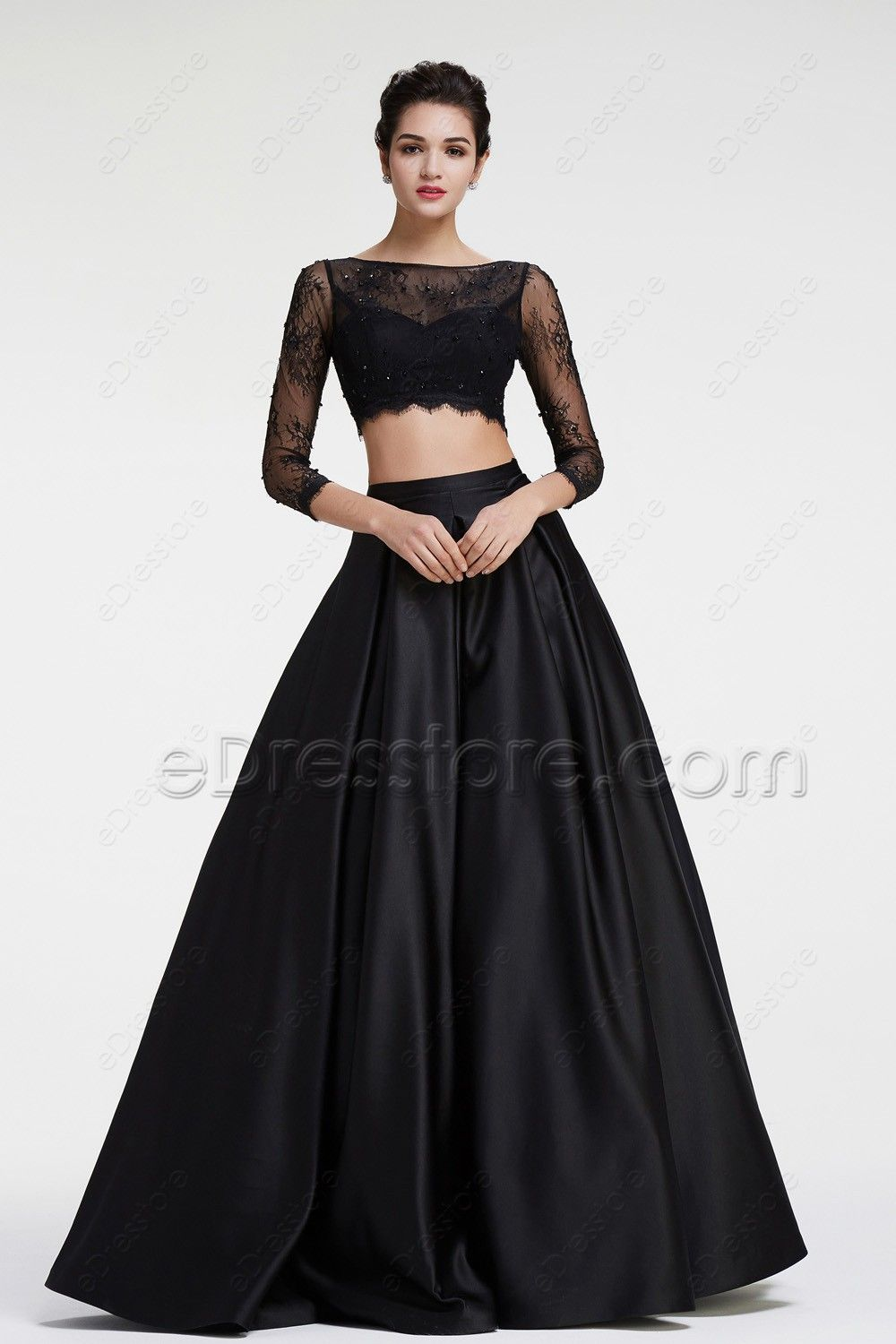 Black lace two pieces prom dresses long sleeves black laces prom