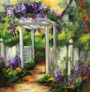 Wild Purple Garden Gate by Texas Flower Artist Nancy Medina